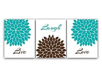 Home Decor Wall Art U0026quot;Live Laugh Loveu0026quot; Turquoise And Brown Flower  Burst Art