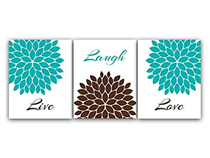 Amazoncom Home Decor Wall Art Live Laugh Love Turquoise And