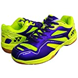 Yonex SRCR CFM Junior Non Marking Badminton Shoes - Purple/Lime Green, 4 UK (for Juniors)