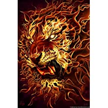 "ArtEdge Fire Tiger by Tom Wood Poster Print, 18"" x 12"""