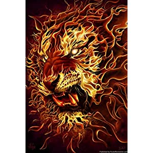"""ArtEdge Fire Tiger by Tom Wood Poster Print, 18"""" x 12"""""""