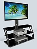 Mount-It! MI-864 TV Stand Entertainment Center with Mount and Storage Shelves, Fits 32 to 60 Inch Screens, VESA 100x100 to 600x400, Glass Shelving, 88 Lbs, Black