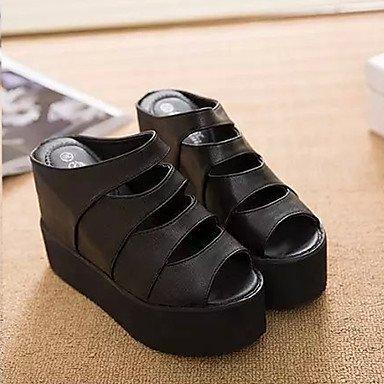 LvYuan Mujer-Tacón Plano-Confort-Sandalias-Vestido Informal-PU-Negro Blanco White