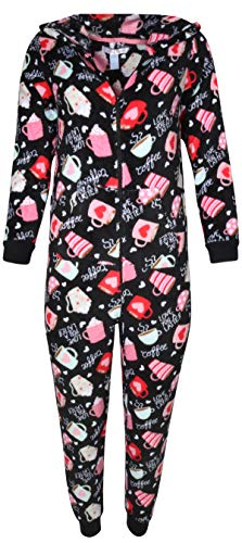 Sleepwear Coral Fleece Hooded Non Footed Onesie Pajama with Pockets, Love You Latte, Large' ()