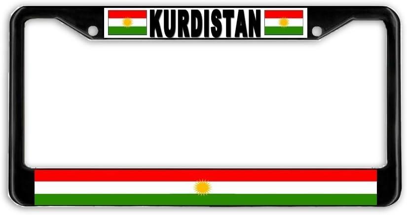 AdriK Kurdistan Kurdish Flag Black Metal Car Auto License Plate Frame