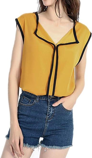 Chaleco para Mujer sin Mangas con Cuello en V Color Sólido Ocasional Camisa de Gasa Blusa Suelta Camisola: Amazon.es: Ropa y accesorios