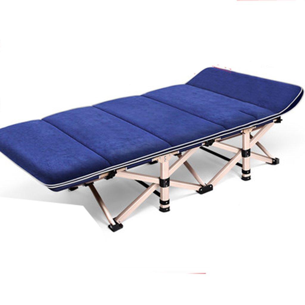 Stühle Klappbett Einzelbett Bett für Erwachsene Bett Siesta Lounge Büro Camping Bett begleitendes Bett (Farbe : Blau, Größe : 190  75  36cm)