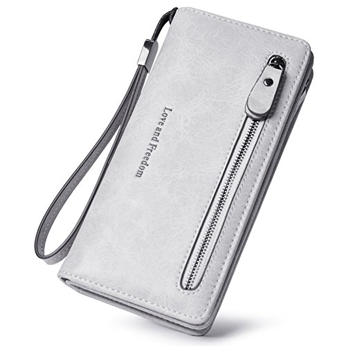 Women Wallet Wristlet Leather Ladies Long Bifold Clutch Checkbook Credit Card Holder Organizer Purse gray by Cluci