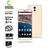 Indigi 4G LTE GSM Unlocked Dual Sim Android 6 Smartphone (4Core 1.3GHz + 1GB RAM + 32GB micro SD) - 5.6 - White/Gold