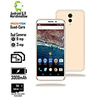 Indigi Ultra Slim 4G LTE GSM unlocked Android 6 Smartphone [ Display + Quad Core CPU + 1GB RAM + 8MP Camera + 32GB micro SD] - 5.6 - White/Gold