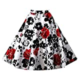 Shilanmei Women Flare Floral Print Knee Length Pleated A Line Skirts High Waist Vintage Midi Skirt with Pockets (Black and Red Flower,L(US 10))