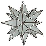 Moravian Star Pendant Light, Frosted Glass, Bronze Frame, 18''