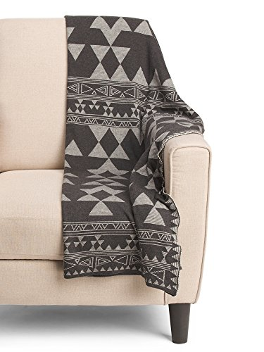 - Aztec Print Cotton Knit Throw Blanket Southwestern Tribal Modern Geometric Pattern Luxe Sweater Soft Black and White Grey Minimal Nordic Graphic Shapes (Grey)