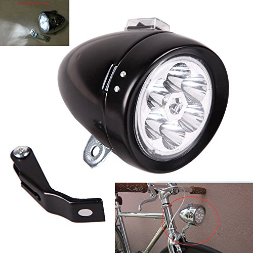GOODKSSOP Unique Bright 6 LED Metal Shell Classical Retro Cool Chrome Silver/Black Vintage Cycling Bicycle Bike Headlight Front Light Fog Head Night Riding Safety Lamp With Strobe Function (Silver)