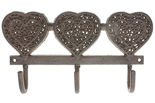 """Decorative Wall Hooks - Vintage Hearts Design - Cast Iron Wall Hanger - Decorative Cast Iron Wall Hook Rack or Key Holder - Vintage Design Hanger with 3 Hooks 