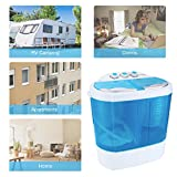Portable Washing Machine, Spin Dryer-Compact Twin Tub Durable Design 9.9lbs Mini Washer to Wash All your Laundry for Apartments, Dorms, RV Camping Swim Suit Spinner Dryer, Blue