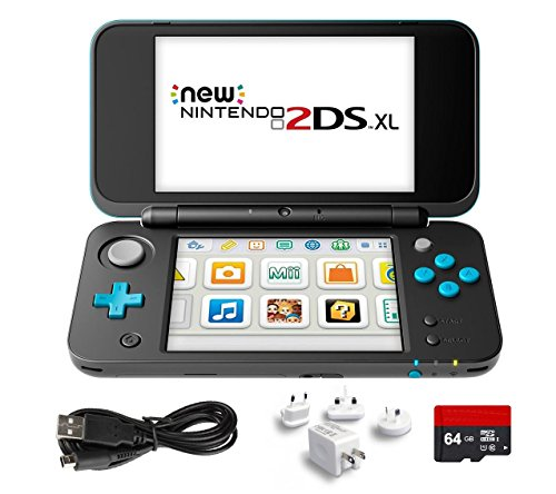New Nintendo 2Ds Xl 4 Items Bundle  New Nintendo 2Ds Xl   Black   Turquoise Console  Usb Sync Charge Usb Cable  Mytrix Travel Usb Wall Charger And Micro Sd Card 64Gb