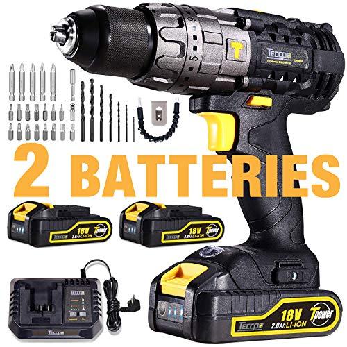 Cordless Drill Driver, TECCPO 60Nm Electric Drill 18V, 30min Fast Charger, 2...