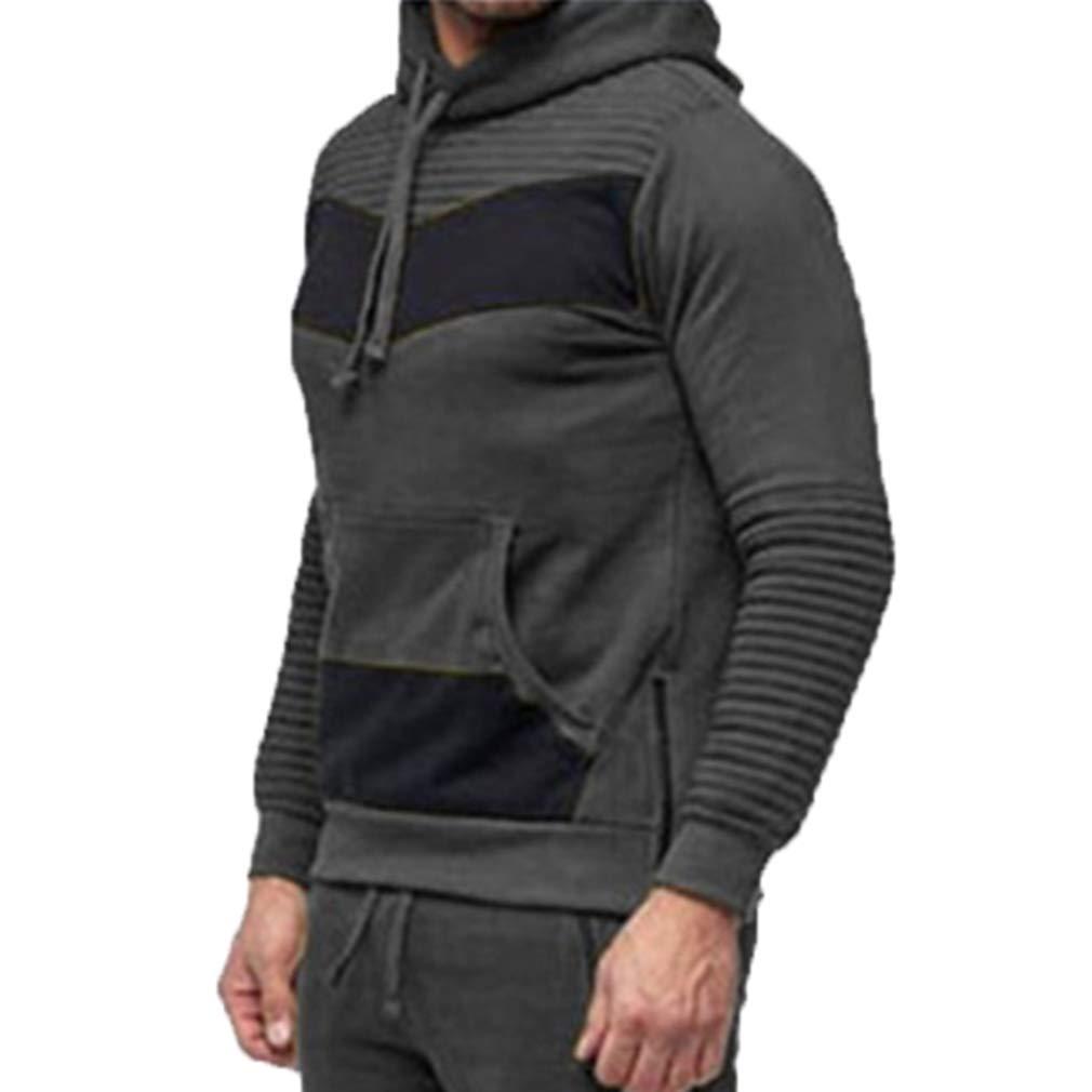 junkai Männer Langarm Trichter Hals Nähte Farbe Pullover Hooded Top Sport Sweatshirt Hoodies Jacke Outwear M-3XL
