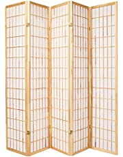 Oriental Furniture Asian Furniture, 6-Feet Window Pane Japanese Shoji Privacy Screen Room Divider, 5 Panel Natural
