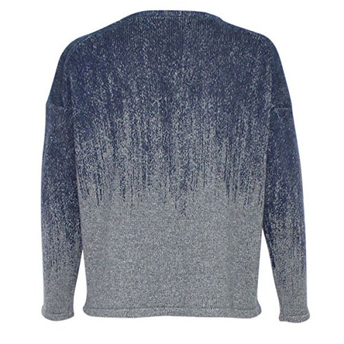 Fine Collection Womens Ombre Crewneck Sweater Heather Grey/Navy XS by Fine Collection (Image #5)