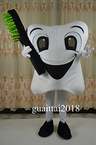 (GUAITAI Tooth Mascot Costume Dental Care Adult Fancy Dress Cartoon Costume (As the picture show / Free)