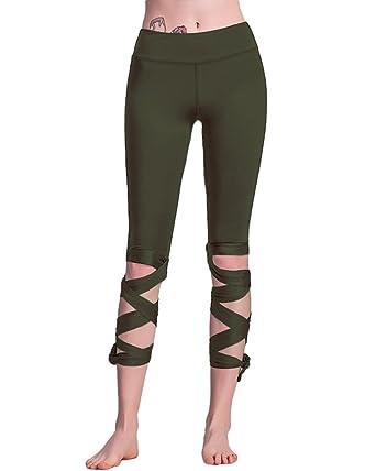 Romacci Women Lace Up Ballet Dancing Leggings High Waist Push Up Fitness  Skinny Pants Pantalon Workout cd6cd457ea7