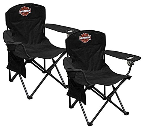 HARLEY-DAVIDSON Compact Bar Shield XL Chair w Drink Holder Carry Bag Set of 2