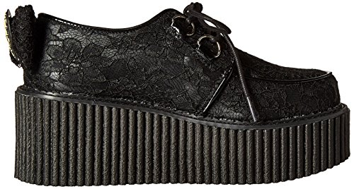 Chaussures Leather Blk Noir Lacets Femme lace Creeper Vegan à Demonia 212 Zqw6FEF