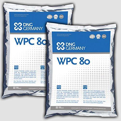 1000g (2x 500g) WPC-80 100% Reines Whey Protein Concentrat - Molkenprotein no Zusätze, Eiweiß - Premium Qualität Neutral! Muskelaufbau