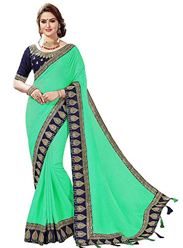 - Nivah Fashion Women's Satin Heavy-Embroidery work sari With Blouse piece K808 (Green)