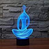 3D Yoga Meditation Mood Night Light - 7LED Light Colors Optical Illusion with USB Cable Smart Touch Button Control,for Home Decor Office Party (Yoga Meditation)