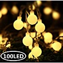 INFILILA LED Globe String Lights 33feet/100 LEDs Plug In Indoor and Outdoor Decoration Lights With 8 Changing Model Waterproof Decorative Lights for Bedroom, Patio, Gate, Yard, Party (Warm White)