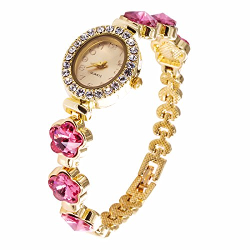 VK Accessories Quartz Oval Watch Face Crystal Chain for Women,Girls Shiny Flower Pink Crystal Wrist Watch Band Gold (Pink Lady Accessories)