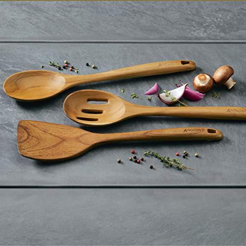 Anolon Teak Wood Tools 13-Inch Tool Set, 3-Piece