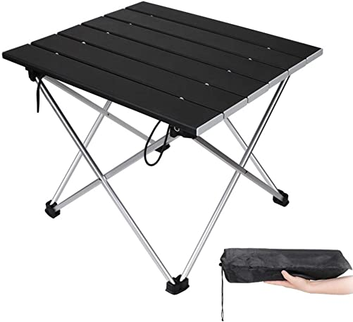 Portable Camping Table,Aluminum Folding Table Ultralight Camp Table Prefect for Outdoor, Picnic, BBQ, Festival, Beach, Home Use Back