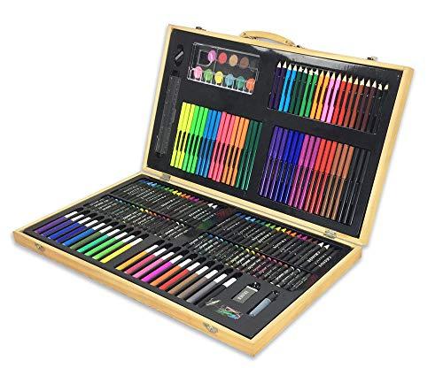 (180 Pcs Art Wooden Box Set Wooden Children Colored Pencil Oil Pastel Watercolor Pan Paints Crayons Drawing Artist Kit)