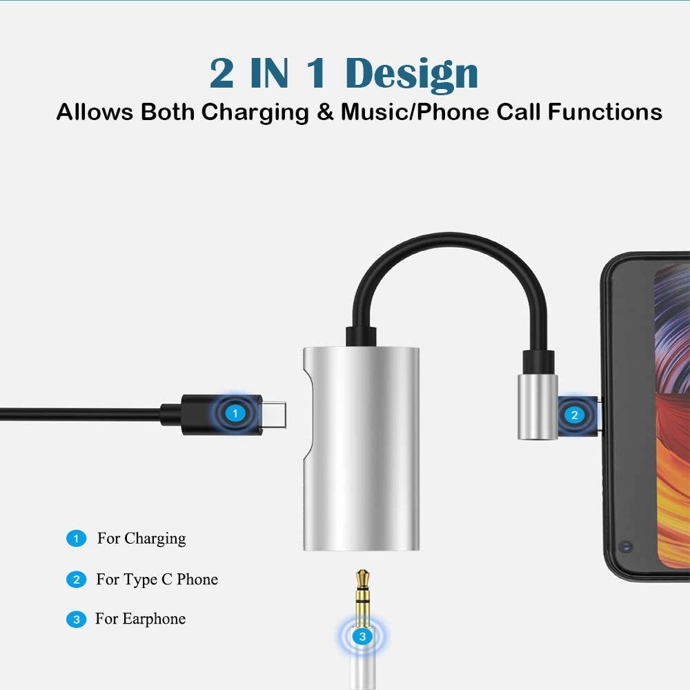 Motorola Moto Z Droid,Huawei Mate 10 and More,Type C Audio Converter 2 in 1 Headphone Connector Type C USB C to 3.5 mm Headphone Jack Adapter Support Audio Charge for Motorola Moto Z