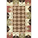 Coffee Themed Kitchen Rugs KAS Rugs 1812 Colonial Wake-Up Call Oval Area Rug, 2-Feet 6-Inch by 4-Feet 6-Inch, Coffee