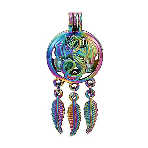10pcs Colored Dragon Wish Dream Catcher Pearl Beads Cage Locket Pendant Aroma Essential Oil Diffuser Locket DIY Necklace Earrings Bracelet Jewelry Making Supplies (Dragon) ()