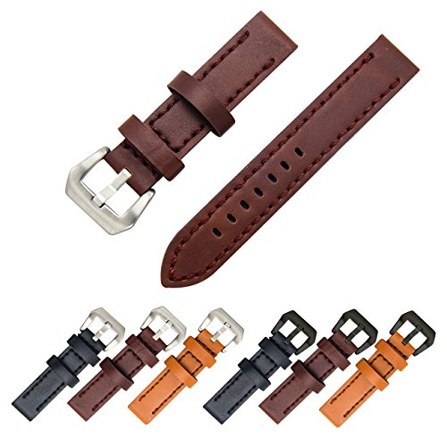 4.5 Mm Band (Genuine Leather Watch Band 20mm 22mm 24mm Leather Watch Strap Top Calf Grain Watch Bands for Men and Women (22mm, Dark Brown(Silver Buckle)))