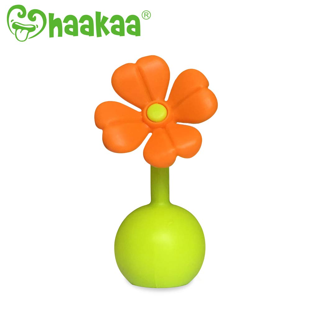Haakaa Stopper Breastpump Stopper Manual Breast Pump Silicone Flower Stopper 100% Food Grade Silicone BPA PVC and Phthalate Free 1 pc, Orange by haakaa