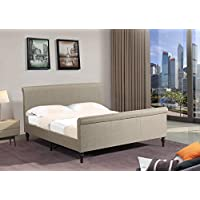 Home Life Premiere Classics Cloth Light Brown Linen 45 Tall Headboard Sleigh Platform Bed with Slats King - Complete Bed 5 Year Warranty Included 017