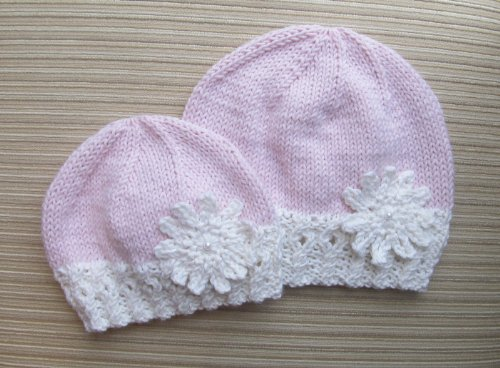 Knitting Pattern Hat with a Large Snowflake for a Girl in Sizes 3-6 Months and 2-3 Years