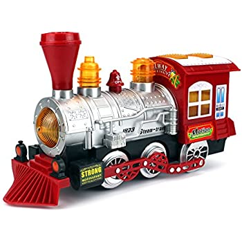 Velocity Toys Steam Train Locomotive Engine Car Bubble Blowing Bump & Go Battery Operated Toy Train w/ Lights & Sounds