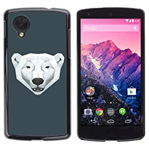 iKiki-Tech Estuche rígido para LG Google Nexus 5 - Cool Polygon Polar Bear