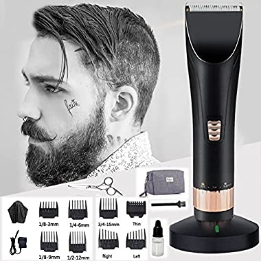 ECVISION Professional Hair Clippers Set Wireless Rechargeable Quiet Hair Trimmers for Men and Babies with Charging Dock,8 Comb Guides,Hairdressing Cape,Scissors And Storage Pouch