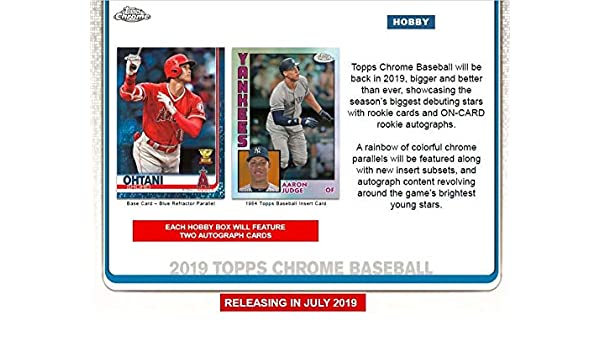Amazon.com: 2019 Topps Chrome Baseball Hobby Box (24 Packs/4 Cards: 2 Autographs): Collectibles & Fine Art
