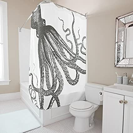 Vintage Octopus Small Shower Curtain Liner Mildew Resistant Waterproof Fabric Curtains For Kids Bathroom Decorative