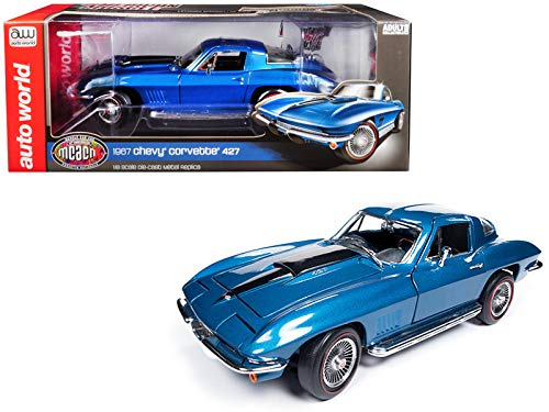 - 1967 Chevrolet Corvette 427 Stingray Coupe Marina Blue Metallic MCACN 10th Anniversary (Muscle Car & Corvette Nationals) Limited Edition to 1,002 Pieces Worldwide 1/18 Diecast Model Car by Autoworld